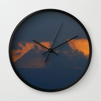 pyramid Wall Clocks featuring Pyramid mountain by Guido Montañés