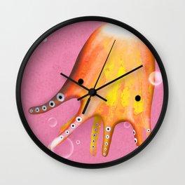 Octopus Orange Pink Ocean Wall Clock