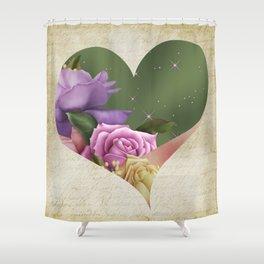 Heartfelt Love Letter & Roses Shower Curtain
