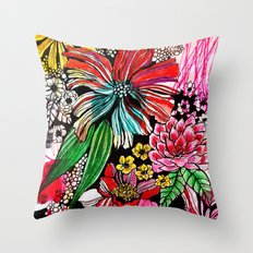 messy flowers Throw Pillow
