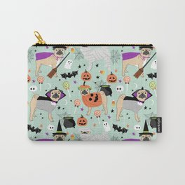 Pug halloween costumes mummy witch vampire pug dog breed pattern by pet friendly Carry-All Pouch