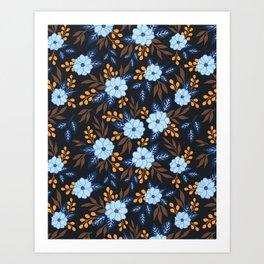 Soft Blue Florals Art Print