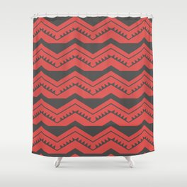 Red and Black Zig Zags Shower Curtain