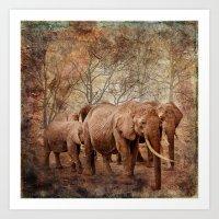 Elephants family on a walk Art Print