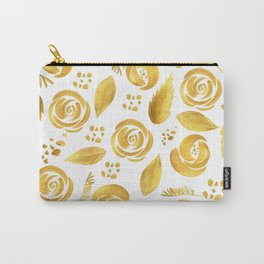Hand painted faux gold white elegant floral pattern Carry-All Pouch