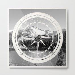 Mountain and Compass Metal Print