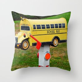 School Bus Mailbox Throw Pillow