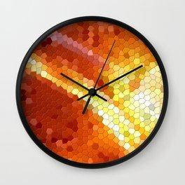 Orange mosaic tile abstract Wall Clock