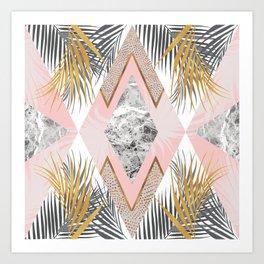 Marbled tropical geometric pattern I Art Print