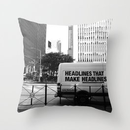 New York Post Truck, Manhattan Throw Pillow