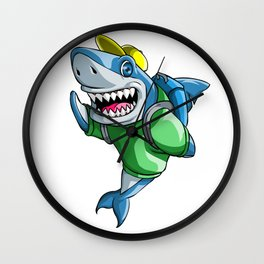 Shark Back to School Kids Pre-School Elementary Wall Clock