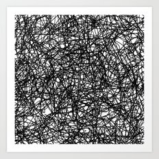Angry Scribbles - Black and white, abstract, black ink scribbles pattern Art Print