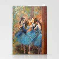 degas Stationery Cards featuring Blue Dancers by paulina anciola