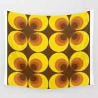 70s Wall Tapestries featuring 70s Yellow circles by Cdill