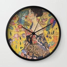 Gustav Klimt - Woman with Fan Wall Clock