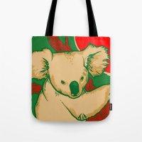 koala Tote Bags featuring Koala by whiterabbitart