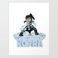 the legend of korra Art Prints featuring Korra by HelloTwinsies