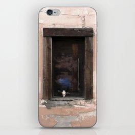 Western Window, deer skull, chippy paint, industrial art iPhone Skin