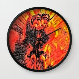 Flames in bedroom - erotic photography rework, sexy onion booty slave girl in submissive pose, BDSM Wall Clock