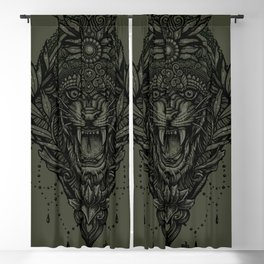 Crowned Chakra Tiger Mandala Geometry Blackout Curtain