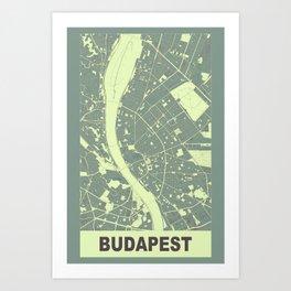 Budapest, Hungary, city map, Mantle grey Art Print
