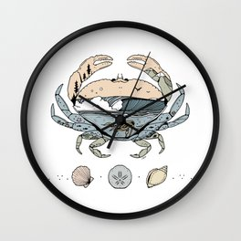 """Crabby Day"" // Beach Wave Underwater Art Wall Clock"