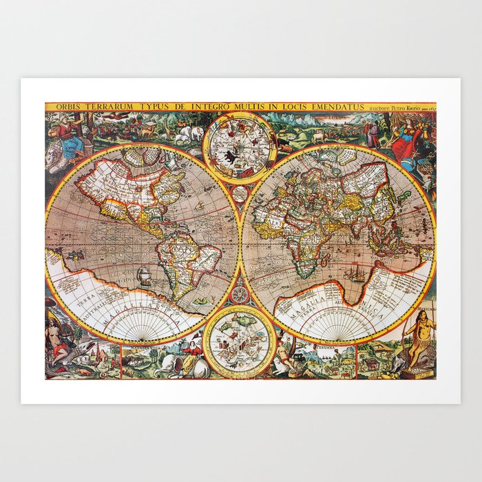 Vintage World Map Art.Vintage World Map Art Print By Foxxmap Society6