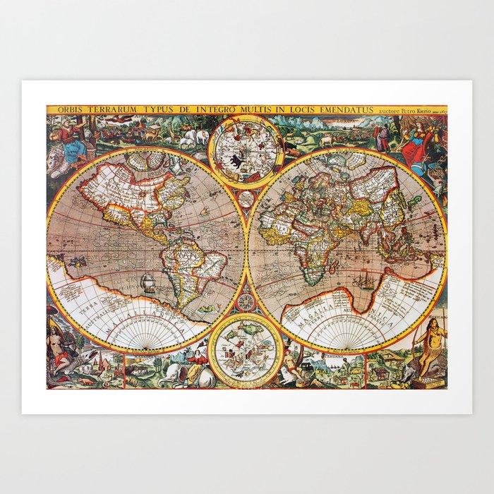 Vintage World Map Art.Vintage World Map Art Print By Foxxmap Society6