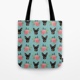 Min Pin miniature doberman pinscher dog breed dog faces cute floral dog pattern Tote Bag