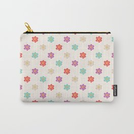 Abstract ivory teal orange violet cute floral Carry-All Pouch