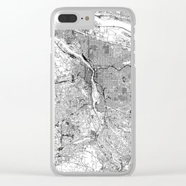 Portland White Map Clear iPhone Case