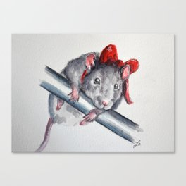 Rat in a bow Canvas Print