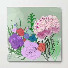 Hand drawn exotic vector pattern with flowers on green background. Metal Print