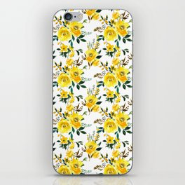 Yellow green white watercolor hand painted floral iPhone Skin