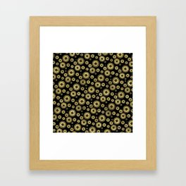 Chinese Coin Pattern Gold on Black Framed Art Print