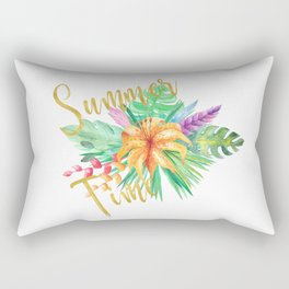 Tropical leaves and flowers summer time gold brush script Rectangular Pillow