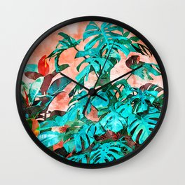 Monstera in My Backyard #painting #nature Wall Clock