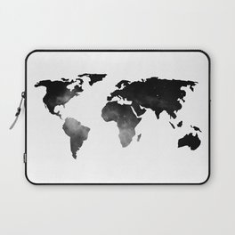 World Map Space Stars Black and White Laptop Sleeve