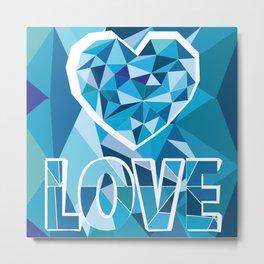Poligon Love Blue Metal Print