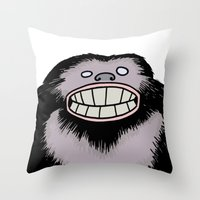 bigfoot Throw Pillows featuring Bigfoot by FireAwayMarmot