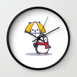 Cute Penguin With Umbrella Icon Illustration Animal Icon Concept Isolated Flat Cartoon Style (1) Wall Clock