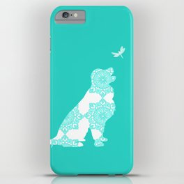 Golden Retriever on Turquoise Color iPhone Case