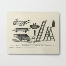 The fruit grower's guide  Vintage illustration of barrows, basket, ladder, scraper, steps Metal Print