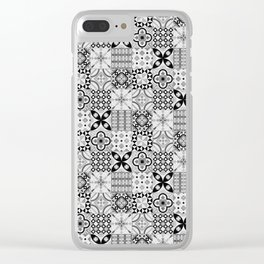 Patchwork pattern, black and white, seamless tile design Clear iPhone Case