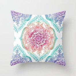 Indian Ink - Rainbow version Throw Pillow