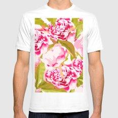 Lovely Peony Flowers Blossom - Summer Garden White Mens Fitted Tee MEDIUM
