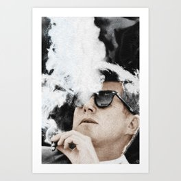 JFK Cigar and Sunglasses Cool President Photo Photo paper poster Color Art Print