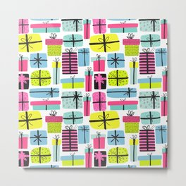 Hot pink yellow teal hand painted christmas presents Metal Print