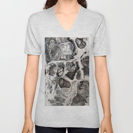 """Black, Silver and White Fluid Painting - """"Obsidian"""" Rock Unisex V-Neck"""