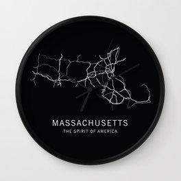Massachusetts State Road Map Wall Clock